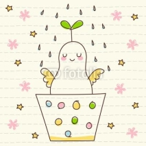 Fototapety Vector Cute Smiling Plant