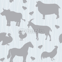 Fototapety Seamless pattern with farm animals silhouettes