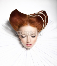 Obrazy i plakaty Theatre. Woman in Medieval Frill - Retro Hairstyle. Fantasy