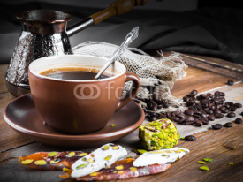 Fototapety Turk and coffee Turkish delight on a wooden board