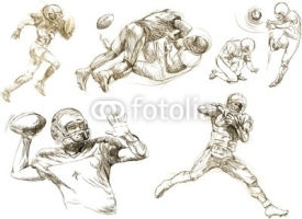 Naklejki american footbal,different snapshots (hand drawing collection)