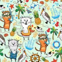Obrazy i plakaty summer sea pattern with cats and pelican
