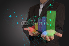 Fototapety businessman hand working with new modern computer and business s