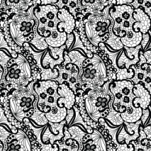 Obrazy i plakaty Lace black seamless pattern with flowers on white background