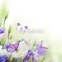 Fototapety Bridal bouquet from white and pink flowers,  butterfly