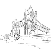 Naklejki Vector drawing of Tower bridge, London, UK