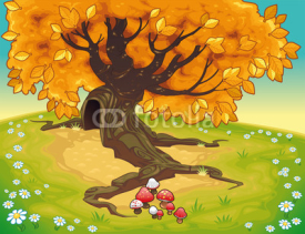 Obrazy i plakaty Tree in autumnal landscape. Vector coloured illustration