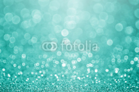 Naklejki Aqua turquoise and teal green bokeh glitter sparkle background