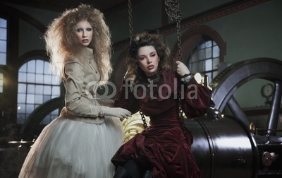 Two young girls as a old fashioned women