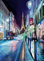 Naklejki Street in paris - illustration