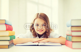Obrazy i plakaty smiling little student girl with many books