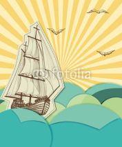 Naklejki Retro sea background with sailing ship