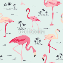 Fototapety Flamingo Bird Background - Retro seamless pattern