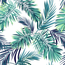 Naklejki Tropical background with jungle plants. Seamless vector tropical pattern with green phoenix palm leaves.