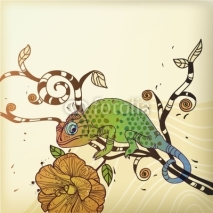 Fototapety vector background with a chameleon and a desert flower
