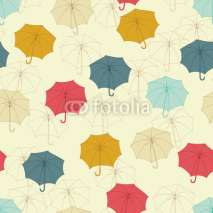 Fototapety Seamless pattern with cute umbrellas. Vector illustration.