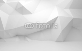 Obrazy i plakaty Abstract white 3d interior with polygonal pattern on the wall