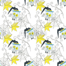 Merry halloween. Skeletons, spider web, cartoon characters, seamless pattern