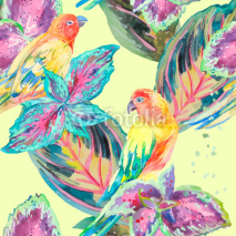 Naklejki Watercolor Parrots .Tropical flower and leaves. Exotic.