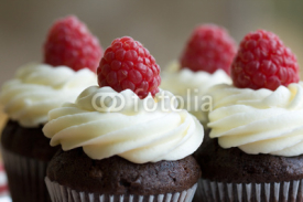 Fototapety Chocolate and raspberry cupcakes