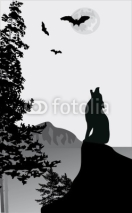 Fototapety howling wolf on rock illustration