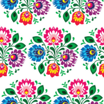 Fototapety Seamless traditional floral pattern from Poland on white