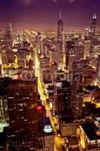 Obrazy i plakaty Aerial view  of Chicago downtown