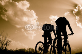 Fototapety silhouettes of cyclists