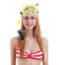 Naklejki Young beautiful woman posing in red striped swimsuit and diving mask, isolated on white