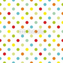 Obrazy i plakaty Colorful polka dots white background seamless vector pattern