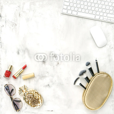 Fashion accessories cosmetics notebook Flat lay feminine