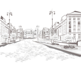 Naklejki Series of street views in the old city, sketch