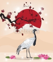 Fototapety beautiful oriental picture with crane