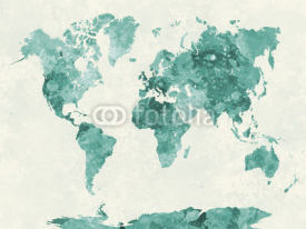 Obrazy i plakaty World map in watercolor green