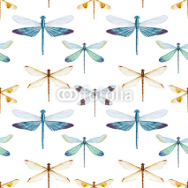 Fototapety Watercolor dragonflies pattern