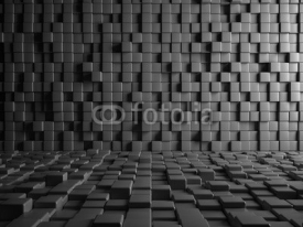 Obrazy i plakaty Abstract Gray Cube Blocks Wall Background. 3d Render Illustration.