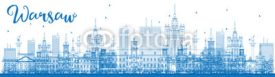 Obrazy i plakaty Outline Warsaw skyline with blue buildings.