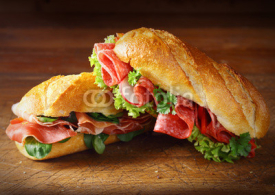Fototapety Delicious salami and ham baguettes