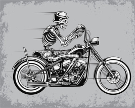 Naklejki Skeleton Riding Motorcycle Vector Illustration