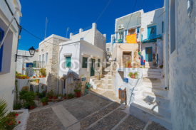 Obrazy i plakaty Greece Siros, street view of traditional Greek houses in chora,
