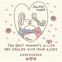 Fototapety Vector Cute Couple Kisses