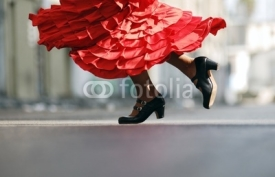 Fototapety Flamenco Dancer red dress dancing shoes