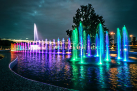 Obrazy i plakaty colorful musical fountain in Warsaw
