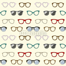 Naklejki Seamless pattern with retro glasses and frames