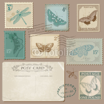 Fototapety Vintage Postcard and Postage Stamps with Butterflies