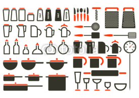 Obrazy i plakaty Kitchenware icons