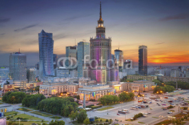 Naklejki Warsaw. Image of Warsaw, Poland during twilight blue hour.