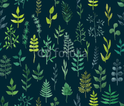 Fototapety Vector green watercolor floral seamless pattern.