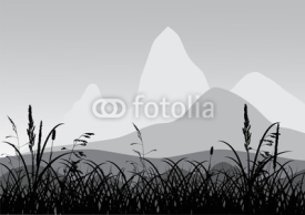 Naklejki grass near mountains landscape