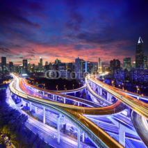Fototapety Shanghai highway view at sunset